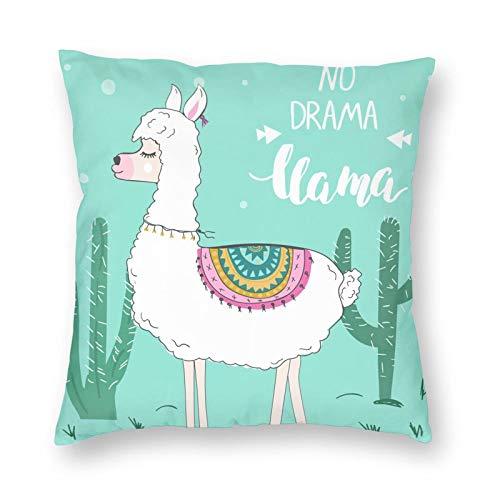 Nixboser Funda de almohada con diseño de llamama o alpaca, sin drama, con texto divertido, de poliéster verde, para decoración del hogar, sofá, sala de estar, cama, coche, 45,7 x 45,7 cm