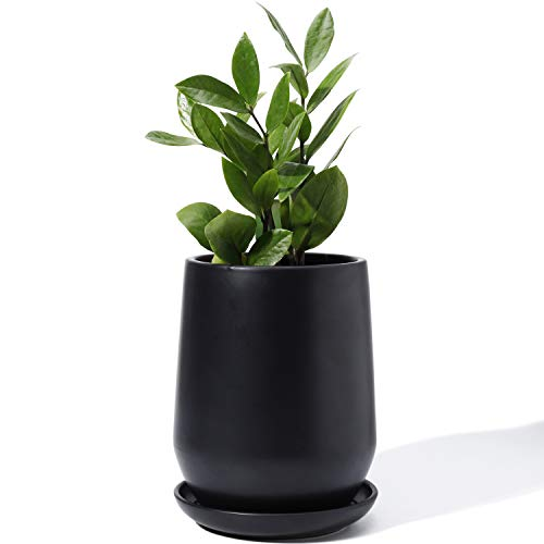 POTEY 050302 Plant Pot with Drainage Hole & Saucer - 5.3 Inch Matte Black Glazed Ceramic Planters Indoor Bonsai Container for Plants Flower(Plants Not Included)