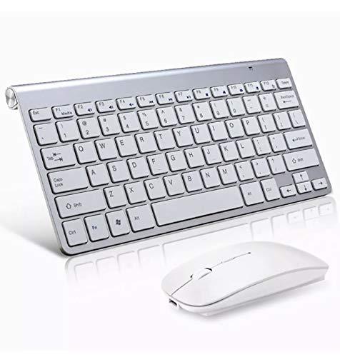 Juego de teclado inalámbrico y ratón inalámbrico 2.4G para PC Latptop, escritorio, Apple Mac (plata)