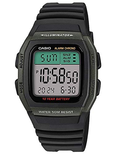 CASIO Herren Digital Quarz Uhr mit Resin Armband W-96H-3AVEF