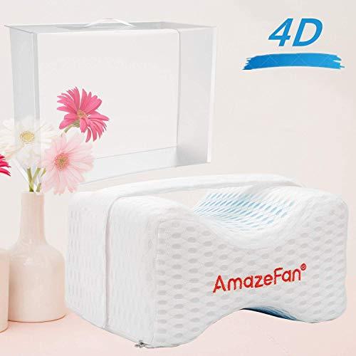 AmazeFan 4D Kniekissen – Orthopädisches Memory Foam Beinkissen Kontur für Ischias, Rückenschmerzen, Hüft- und Beinschmerzen Kissen