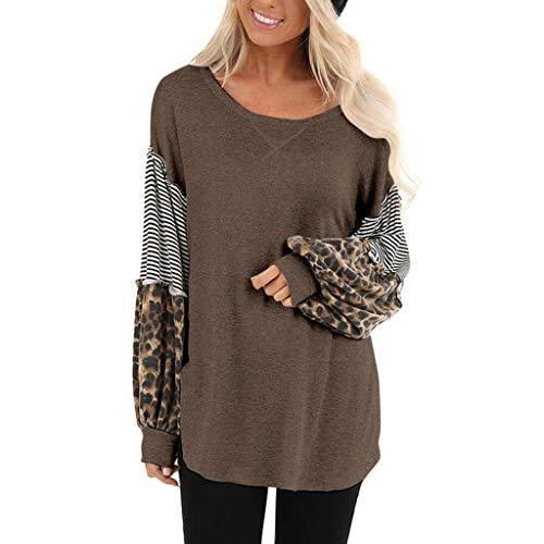 GOKOMO Damen Leopardenmuster Langarm Spleißen Gestreifte Freizeitoberteile Patchwork Pullover(Kaffee,Large)