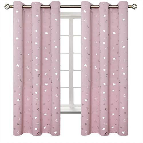 BGment Moon and Stars Blackout Curtains for Girls Bedroom, Grommet Thermal Insulated Room Darkening Printed Kids Curtains, 2 Panels of 42 x 63 Inch, Light Pink
