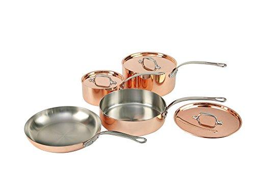 Set de 4sartenes de cobre con tapa y...