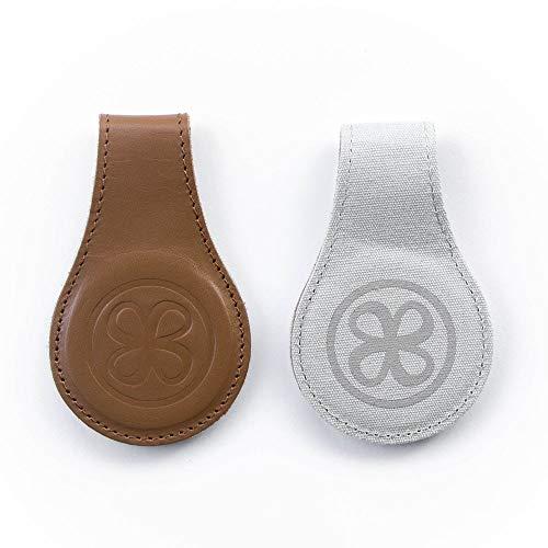 Cloby Swaddle Magnet Clips Leather 2 Farbig Rückseite Canvas Grau Fixiert Ihren Sonnenschutz am Kinderwagen (Brown Leather)