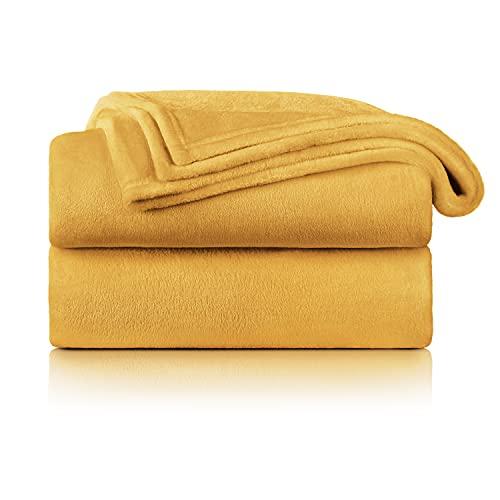 Blumtal Flauschige Kuscheldecke – hochwertige Wohndecke, super weiche Fleecedecke als Sofaüberwurf, Tagesdecke oder Wohnzimmerdecke, 220 x 240 cm, Spicy Mustard - gelb