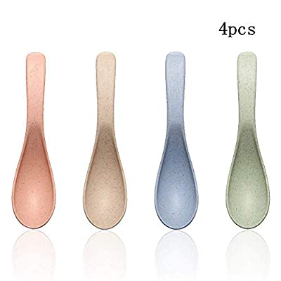 Wheat Straw Plastic Dinnerware Spoon/Reusable-Unbreakable Dinner Spoons/Eco Friendly-Dishwasher & Microwave Safe, BPA Free And Healthy Cereal Dishes/Kids-toddler & Adult (spoon x 4 pc)