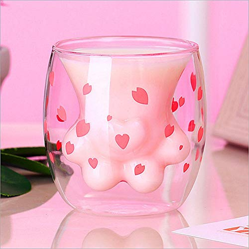 JSBVM Cat Paw Cup Sparks Claw Glass Double Wall Cat Coffee Mugs Cat Foot Milk Glass, Gift for Personal Birthday, Valentine's Day and Office