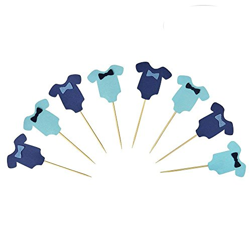 HANSA Blue Baby Jumpsuits Baby Shower Cake Cupcake Toppers Picks for Birthday Boys Party Decorations 24 PCS