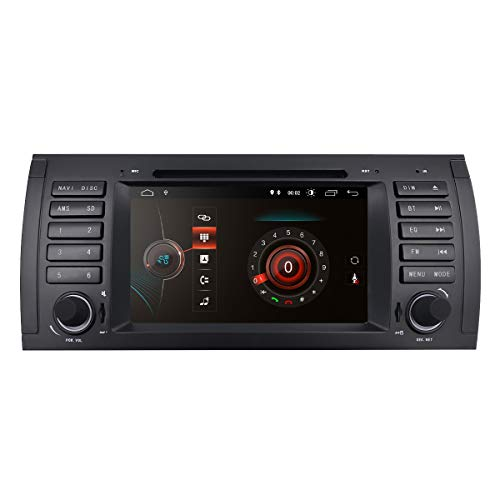 Android 10 Single Din autoradio DVD-speler + Canbus met 7 inch capacitief touchscreen, geschikt voor BMW 5-E39/X5-E53/M5/7-E38 ondersteuning, spiegel-Link BT WiFi 4G DSP SWC EQ OBD2 RDS