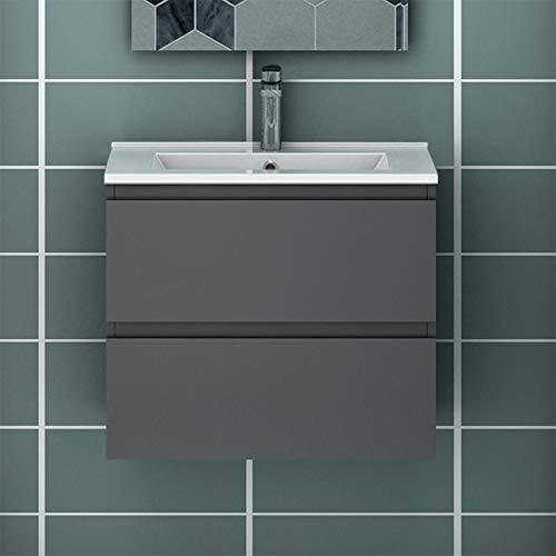 Acezanble Badezimmer Badmöbel 60 cm Vormontiert Waschtisch mit Unterschrank Hängeschrank Anthrazit