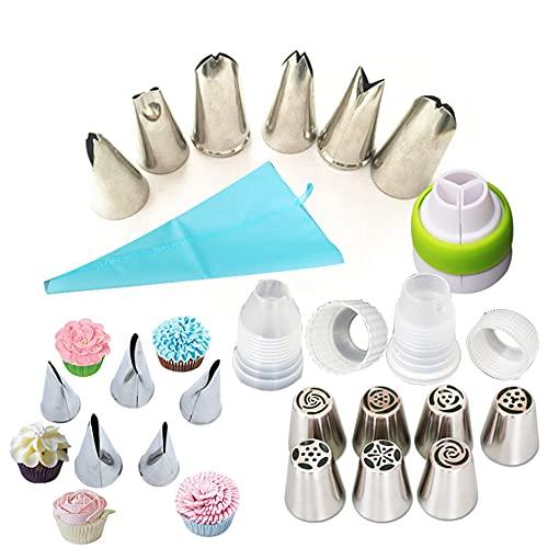 YAGUBLKJ Set di 32 beccucci per pasticceria, sac à poche in silicone, decorazione per cupcake, sac à poche usa e getta, decorazione per torte e biscotti, ugello russo professionale in acciaio inox