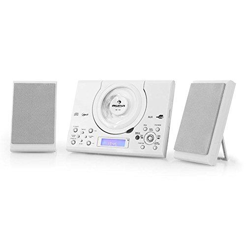 auna MC-120 White Edition - Minicadena , Equipo de música , Altavoces estéreo , Diseño Compacto , CD , MP3 , FM , USB , AUX , Alarma , Display LCD , Control Remoto , Opción en Pared , Blanco