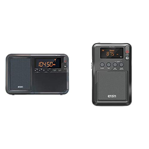 Eton Elite Traveler AM/FM/LW/Shortwave Radio with RDS & Custom Leather Carry Cover & Elite Mini Compact AM/FM/Shortwave Radio (Graphics/Markings/Color/Packaging May Vary)