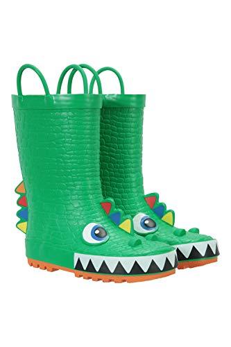 Mountain Warehouse Character Junior-/Kinder-Gummistiefel – wasserdichte Regenstiefel, robust, komfortabel, pflegeleicht, einfach Abwischen Grün 29