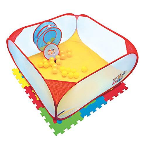 LUDI Pop-up Spielbereich mit Bällen und Schaumstoffmatten Pop-up Ball Pool Kit + 9 Polster Bodenplatten + 25 Anti-Crush-Bälle | EIN sicherer Ballpool zu Hause | Ab 10 Monaten