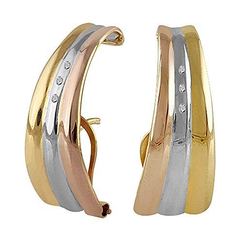 Pendientes oro tricolor 18k colección Piave 22mm. diamantes brillantes 0.03ct. bandas cierre omega
