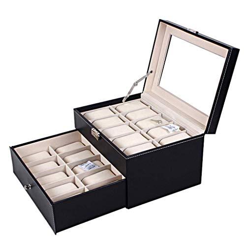 NBVCX Wohnaccessoires 2 Tier Large Watch BoxPremium-Vitrinen mit 20 Steckplätzen und Glasdeckel Robustes, sicheres Schloss für Schmuckhalter für Männer und Frauen mit Schublade