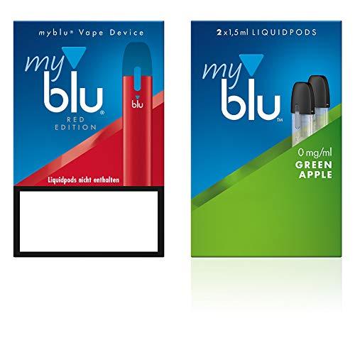 Elektrische Zigarette myblu Farbe Rot - Starter Set mit Podpack Aroma Green Apple - Ohne Nikotin + Zugabe Original myblu Soft Touch Pen + Glitzer Tattoo Set