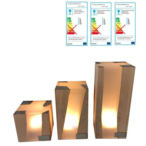 Lampenmanufaktur Saar Tischleuchte Cube 3er Set LED warmweiß Tischlampe 3 Größen
