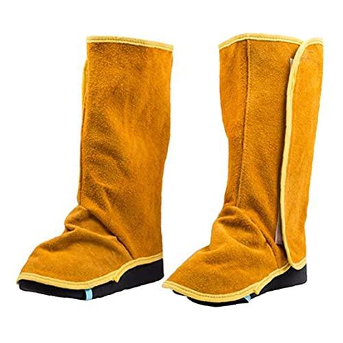 Zapatos de seguridad Gaiters de soldadura Establecimiento pesado Cuero de vaca Cubiertas de zapatos de cuero resistentes a la llama Soldadura Spats 1PAIR