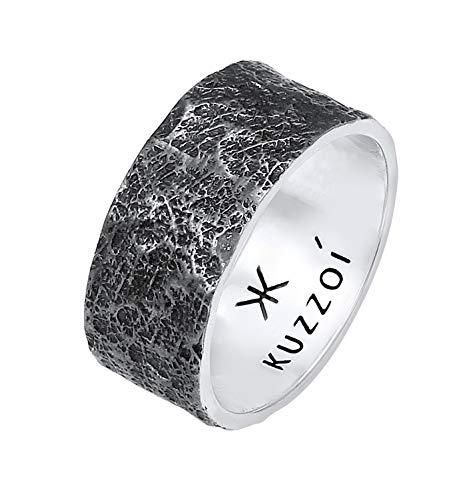 Kuzzoi Herrenring (10 mm) Massiv Handgeschmiedet, Bandring für Männer aus 925 Sterling Silber, Cooler Silberring im Used Look, Ring mit rustikaler Struktur oxidiert, Ringgröße 66, 0609652220_66