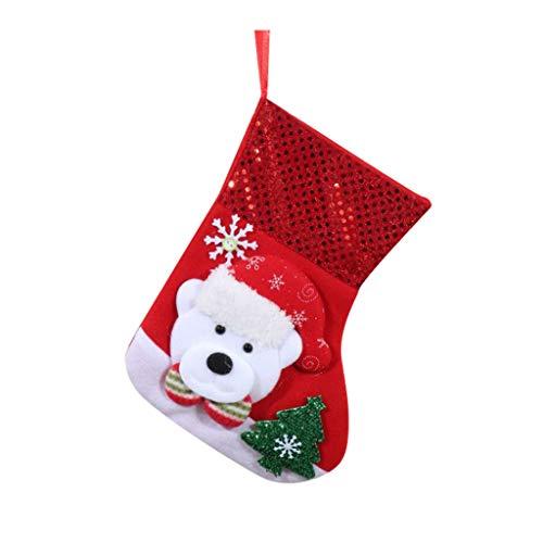carol -1 Weihnachtsstrumpf Weihnachtsdeko Weihnachten Geschenktasche Zucker Beutel Weihnachtsbaum Deko Socken Dekoration Nikolausstrumpf zum Befüllen & Aufhängen - EIN Echter Klassiker