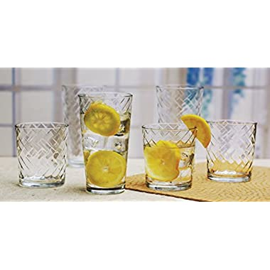 Drinking glasses by CIRCLEWARE Entertaining set of 16 piece 17 oz Coolers and 13 DOFs, Rietta