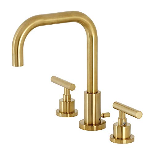 Kingston Brass FSC8933CML Manhattan Widespread Bathroom Faucet Pop-Up, Brushed Brass