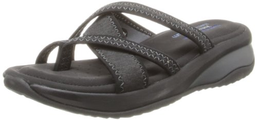 Skechers Cali Women's Promotes-Excellence Platform Sandal, Black/Charcoal, 8 M US