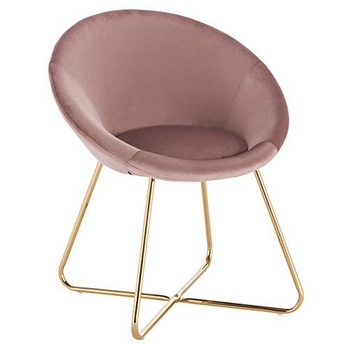 WOLTU 1 Eetkamerstoel Slaapkamer stoel Roze,keukenstoel van fluweel en goudkleurig metaal BH217rs-1
