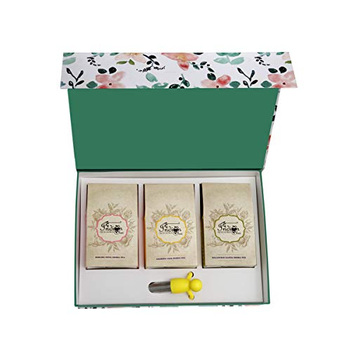 The Ancient Ayurvedic Brew Set of 3 Dosha Teas Assorted Vata - Pitta and Kapha Teas with A Silicone Man Tea Infuser in A Reusable Gift Box (3 X100 gm (3.52 OZ))