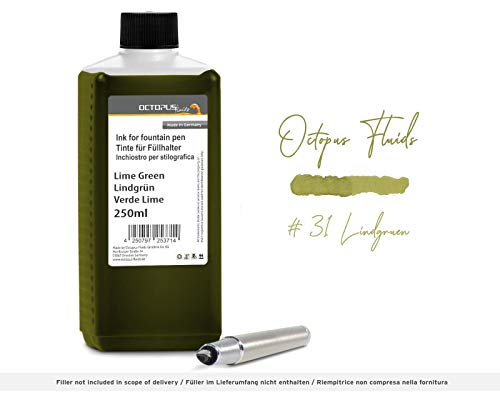 Füllhaltertinte in praktischer Nachfüllflasche,Schreibtinte für Füllhalter,Füllertinte,Kalligraphie Tinte in Lindgrün 250ml