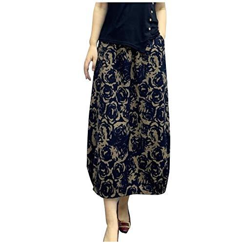 Yue668 - Falda de corte amplio para mujer, para primavera, verano, cintura alta, falda larga, de malla plisada, con estampado de hojas de plátano