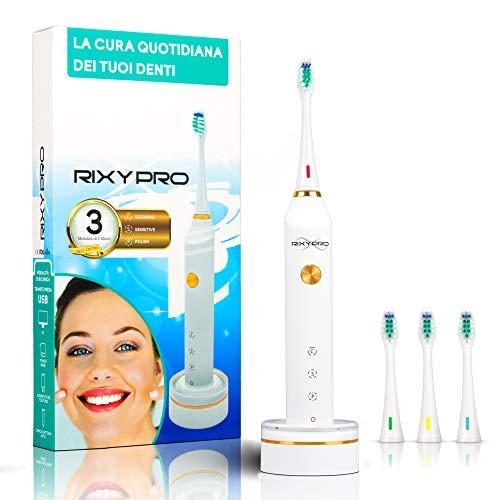 Spazzolino Elettrico Rixypro Ultra Sonico Wireless Ricaricabile per pulizia dentale con 3 funzionalità di pulizia 1 manico e 4 testine incluse nel pacchetto resistenza all'acqua IPX7 supporto base
