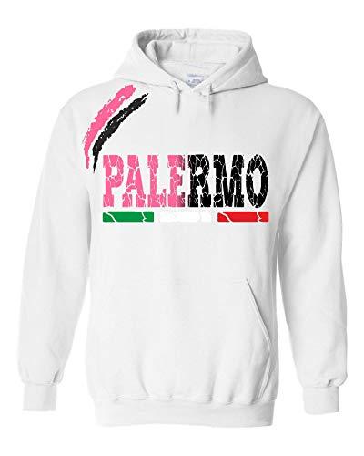 vestipassioni Felpa Palermo Cappuccio Sport Tifosi Ultras Calcio Supporter Made in Italy(XXL, Bianco)