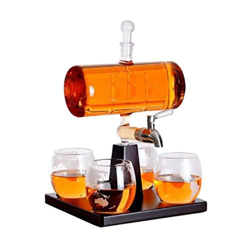 OMLTER Whisky Decantador Conjunto con 4 Tazas Y Madera Marco, Transparente Vaso Grabando Velero Licorera Conjunto, Vino Accesorios, Decantador para Casa, Restaurante, Bar