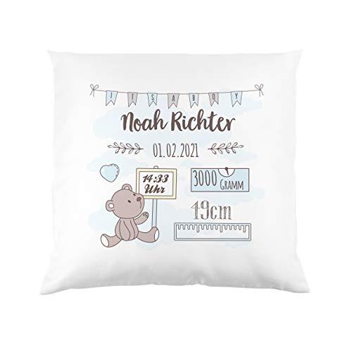 Striefchen® Kissen als Geschenk zur Taufe oder Geburt mit Namen & Datum - Teddybär - Babygeschenk oder Geburtskissen Junge