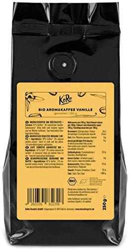 KoRo - Bio Kaffee Vanille 250 g - Hochwertiger Röstkaffee gemahlen aus 100 % Arabica Bohnen mit feinem Vanille-Aroma ohne künstliche Aromen