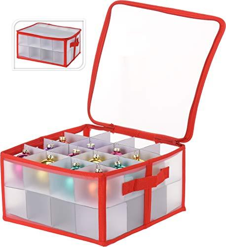 hibuy Aufbewahrungsbox für Christbaumkugeln, Christbaumschmuck - Platz für 32 Kugeln - durchsichtig, rot (30 x 30 x 15 cm)