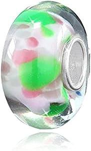 Materia 1038 - Cuentas de cristal de Murano, color verde y rosa con lunares - Plata 925, diseño de manchas para pulseras europeas