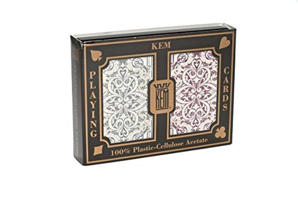 Kem Jaquard Burgandy Green Bridge Playing Cards Jumbo Index by KEM