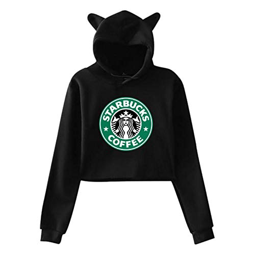 Womens Casual Cool Classic Logo Cat Ear Sweater for Girls Fashion Long Sleeve Cotton Hoodies for Teens Crop Top Hoodie Black