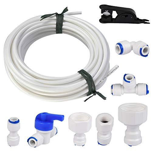 TIMESETL Manguera de Suministro de Agua Universal de 15 Metros, Kit de Conector de Manguera de Refrigerador de 1/4 ', Tubo de Filtro, Piezas y Accesorios de Refrigerador Europeo / Americano