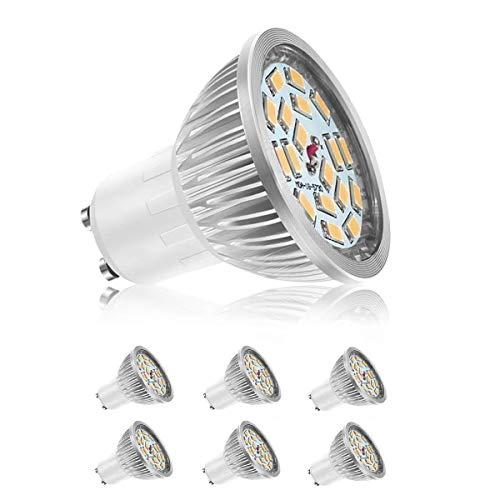 GU10 LED Lampen, WXY 6W 18 x 5730 SMD LED Lampen, entspricht 50W Halogenlampen, Warmweiß 3000K, 600LM, AC 85-265V, 140 ° Abstrahlwinkel, kein Flimmern und nicht dimmbar 6er-Pack