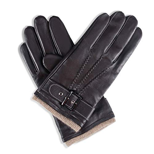 YISEVEN Men's Winter Cashmere Lined Touchscreen Lambskin Leather Gloves Three Points and Buckle Belt Slim Hand Warm Lined Heated Luxury Dress Driving Gifts Motorcycle Driving, Brown 9.5'/L