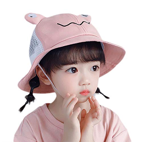 Qiman Sombrero para niños pequeños, con diseño de rana, transpirable, de malla, ala ancha, protección solar, para verano, exterior, playa, con correa para la barbilla.