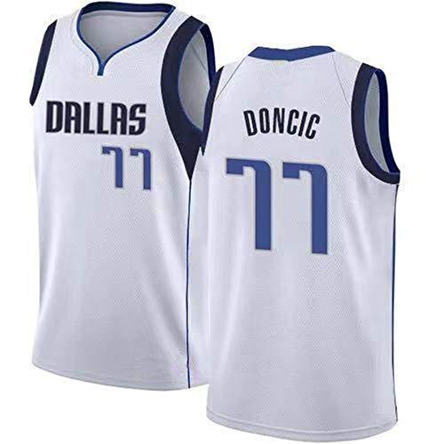 HYQ NBA Jersey, New Season Llanero Equipo, 77 Camiseta Uniformes de Baloncesto Camisa Bordada edición de la Ciudad prensado en Caliente Jersey,Blanco,M/48