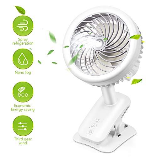 Clip-Lüfter , Tragbarer Tischventilator mit Sprühbefeuchtungslüfter Mini Wiederaufladbarer USB-Lüfter, 360 ° -Drehung Clip-Tischlüfter Für Zuhause, Büro, Schlafzimmer , Wohnheim