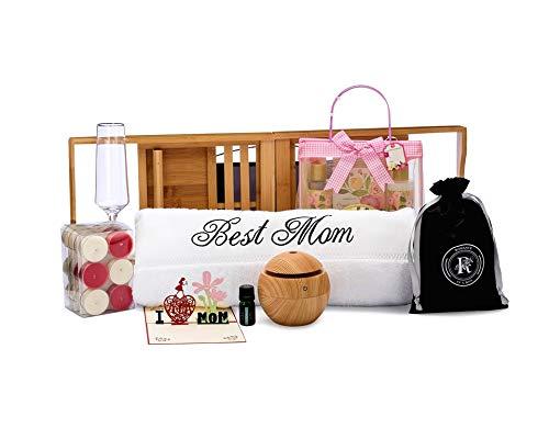 Spa Gift Box for Mom   Includes I Love MOM Card, Best Mom Bath Towel, Bamboo Bathtub Caddy and Spa Gift Basket